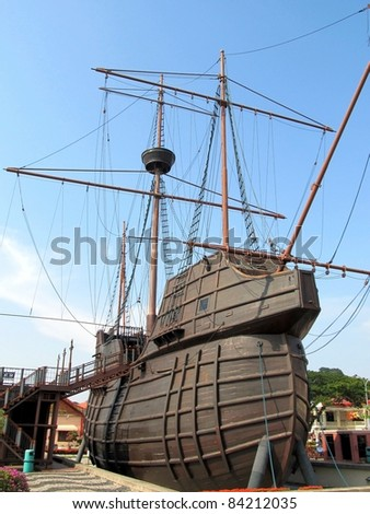 stock photo : Malaysia,Malacca:Maritime Museum, Flor de la Mar Nau (carrack) replica. A replica of Portuguese Viceroy Afonso de Albuquerque's famous ship, stands as museum. A must visit 6 floors high impressive Nau