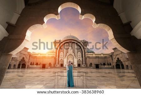 Malaysia Mosque with Muslim pray in Malaysia, Asian