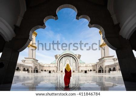Malaysia Mosque with Muslim pray in Malaysia, Malaysian muslim with mosque religion concept.
