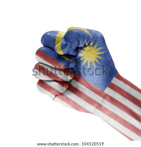 Malaysia on hand with a white background. - stock photo