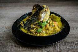 Malaysia River Fish Pangasius Sutchi, Malaysia Tradisional Food 'Ikan Patin Tempoyak'.
