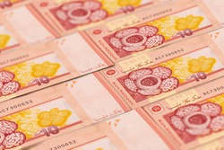 Malaysian ringgit banknotes background. Malaysian currency. MYR.Finance, business background. Perfect for news, reportage