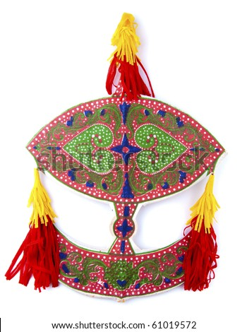 Malaysian traditional Wau or moon kite on white.
