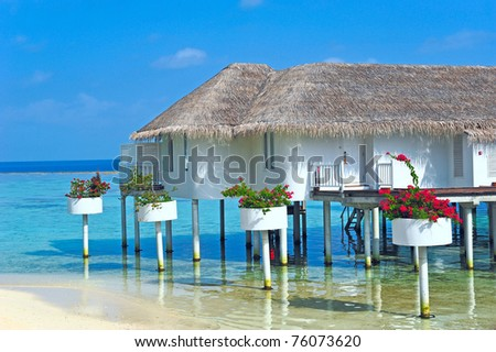 Maldive water villa - bungalows close up