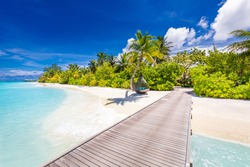 Maldives island beach. Tropical landscape of summer scenery, white sand with palm trees. Luxury travel vacation destination. Exotic beach landscape with swing or hammock. Maldives holiday background