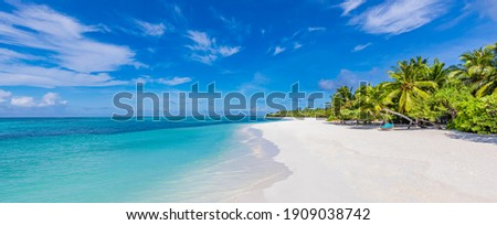Maldives island beach. Tropical landscape of summer scenery, white sand with palm trees. Luxury travel vacation destination. Exotic beach landscape. Amazing nature, relax, freedom nature template