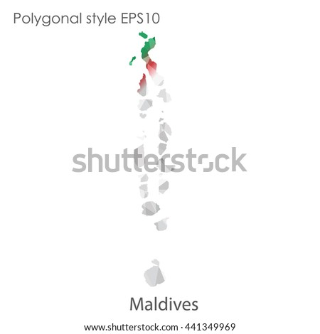 Maldives map in geometric polygonal style.Abstract gems triangle,modern design background. Vector illustration EPS10 #441349969