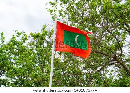 Maldives national flag on blue sky background #1481096774