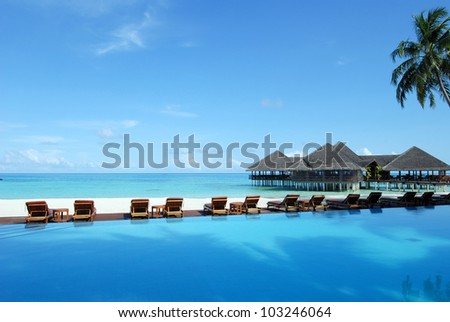 maldives seascape - tropical swimming pool near the beach