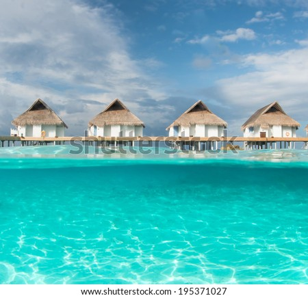 Maldives water bungalow and half water photography #195371027