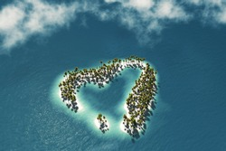 Maldivian island in the shape of heart