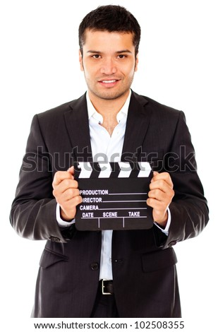 Male actor casting for a movie role - isolated over a white background