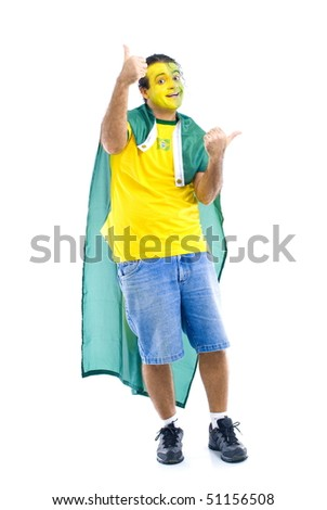 Male Adult Brazilian Supporter with the flag .