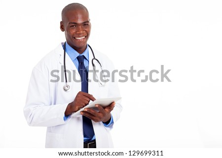 male african american medical doctor with tablet computer on white