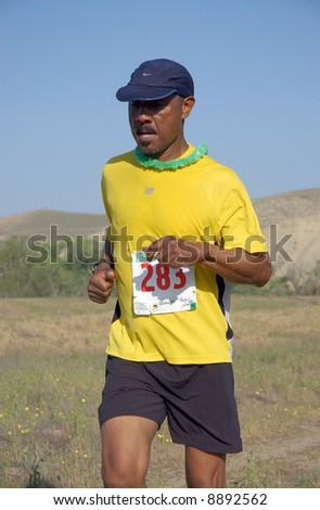 male african-american participant in the Kern River Trail Race