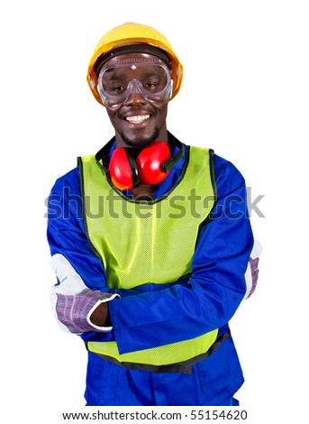 male african builder with full protective gear