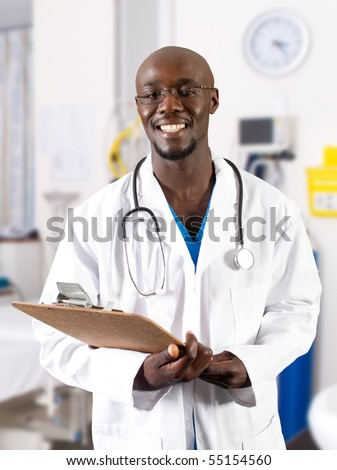 male african doctor in hospital ward
