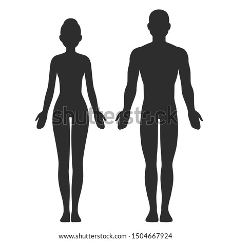 Male and female body silhouette template. Isolated clip art illustration.