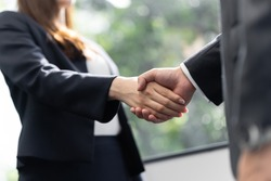 Male and female business people shaking hands in office