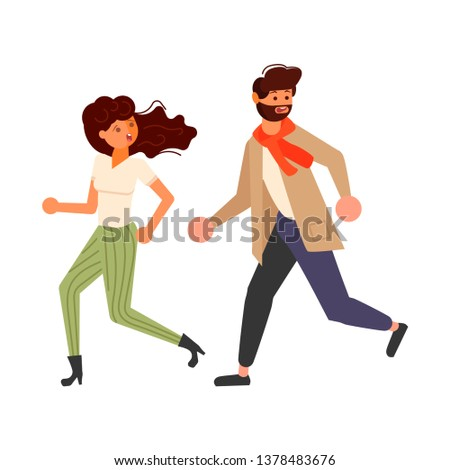 Male and female cartoon characters chasing someone. Frightened boy and girl  looking back scared, running away afraid of something in panik. Flat Art Rastered copy Stock fotó ©
