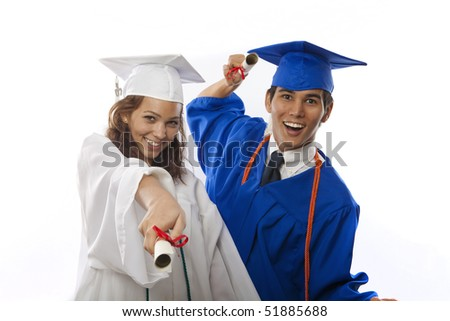 male and female college graduates in cap and gown with diploma
