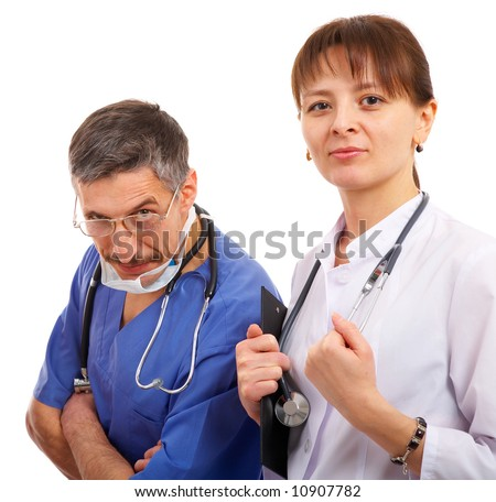 male and female doctor with some medical accesories