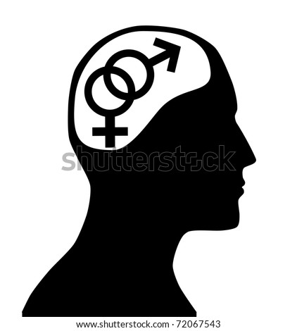 Male and  female gender sign in mind