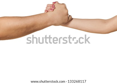 male and female hand to shake hands, or wrestling on white background