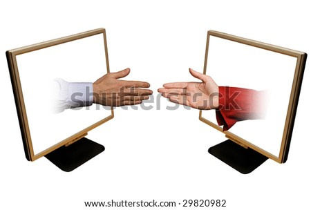 male and female hands coming out of laptop monitors against a white background
