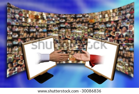 male and female hands coming out of laptop monitors with people faces on a screen in background
