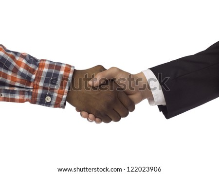 Male and female hands doing a handshake over a white background
