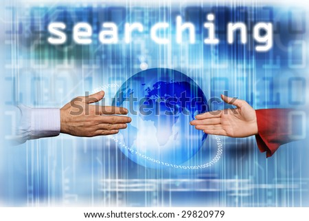 male and female hands reaching for each other, social network concept - stock photo