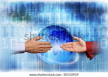 male and female hands reaching for each other, social network concept