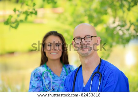 male and female healthcare professional