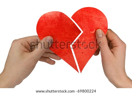 male and female holding broken heart. Isolated on white