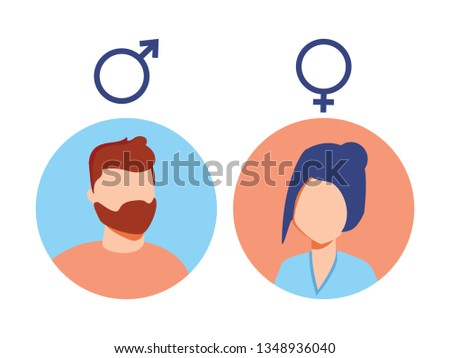 male and female icon set. User avatar. Man and lady toilet sign. Sex symbol. Gender icon. Boy and girl pictogram. Female and male equality, feminism concept. Gender rights, gentleman, lady icon