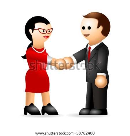 Male and female iconic figures shaking hands - stock photo