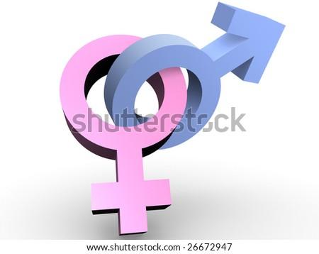 Male and female interlaced symbols. Concept of love
