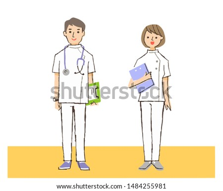 Male and female medical workers standing with a smile