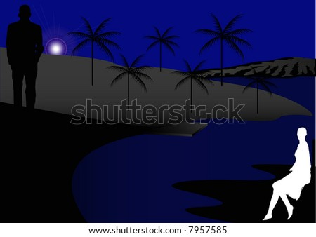 Male and female on black beach at night