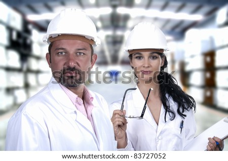 male and female quality control white helmet