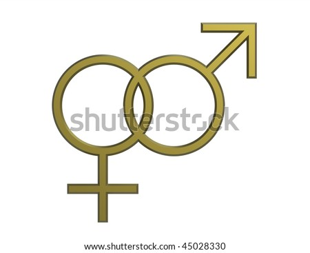 stock photo : Male and female sex symbol render isolated on white