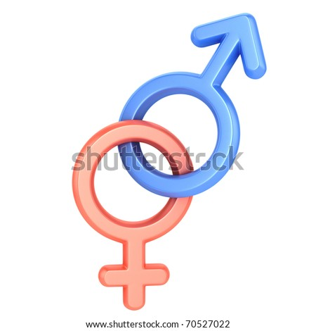 stock photo : male and female sex symbols, isolated over white background