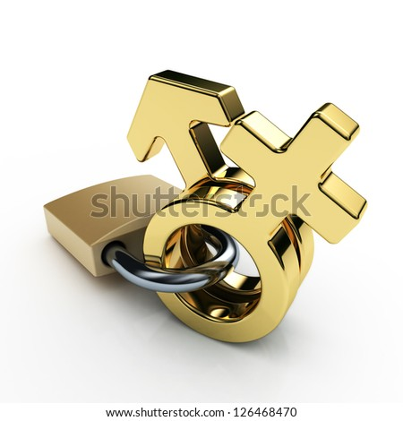 male and female sex symbols locked, golden, isolated over white background