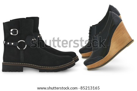 male and female shoes concept on white