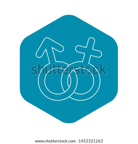 Male and female sign icon. Outline illustration of male and female sign icon for web