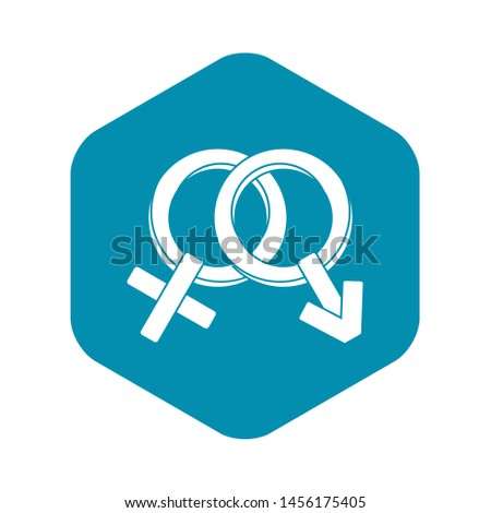 Male and female signs icon. Simple illustration of male and female signs icon for web
