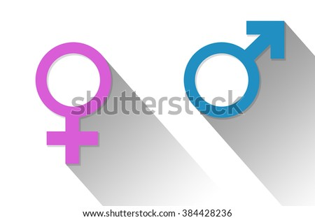Male and female symbols. Flat Design