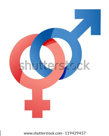 male and female symbols illustration design over a white background