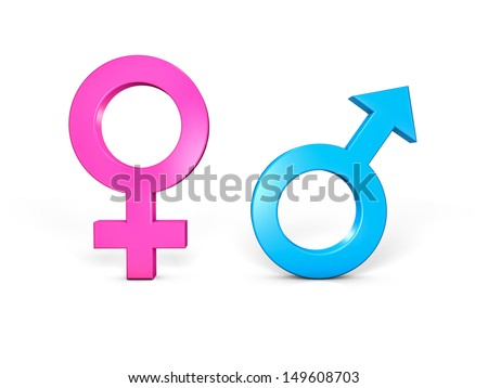Male And Female Symbols Isolated In White Ez Canvas